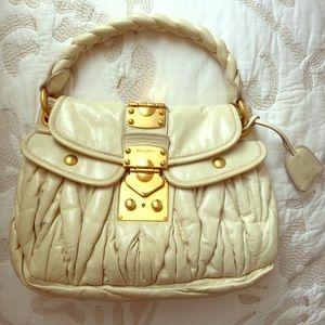 Miu Miu White Cream Leather Matelasse Handbag